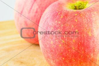 Apple on the wood block