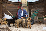 Man with puppies breed Tibetan Mastiff