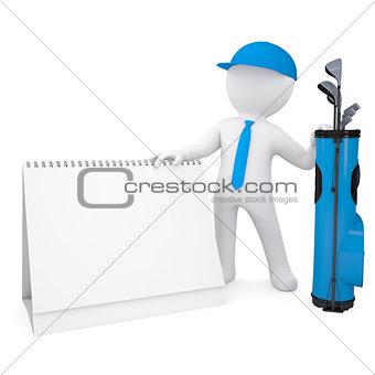 3d white man holding a calendar