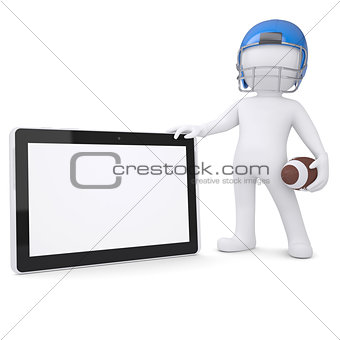 3d man in a football helmet holds tablet