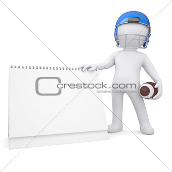 3d man holds a football helmet desk calendar
