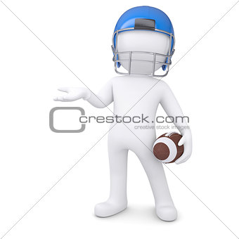 3d man in a football helmet holds an empty hand