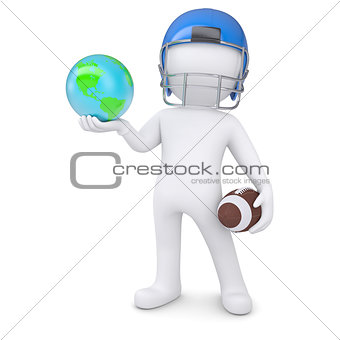 3d man in a football helmet holds the earth