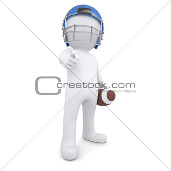 3d man in football helmet points finger at viewer