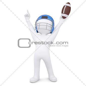 3d man in a football helmet raised his hands up