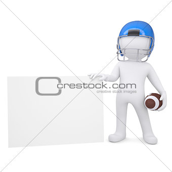 3d man in a football helmet holds blank card