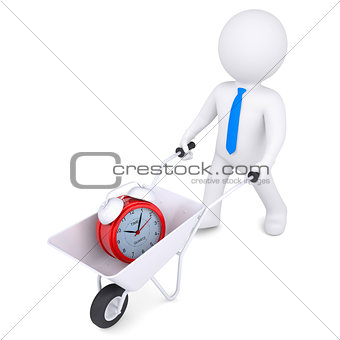 3d white man carries wheelbarrow of alarm clock