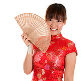 Cheongsam woman and fan