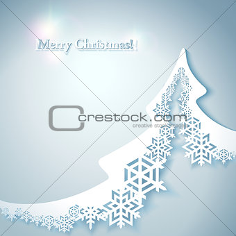 Abstract Christmas Background with paper christmas tree