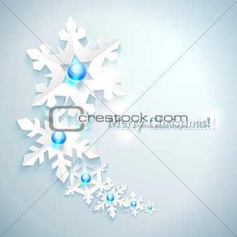 Abstract Christmas Background with paper snowflakes