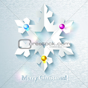 Abstract Christmas Background with paper snowflake