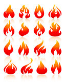 Fire flames red, set icons