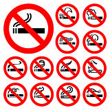No smoking - red symbols