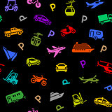 Seamless backdrop, transport colored icons