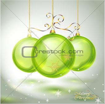 Transparent green glass Christmas Ball