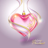 Transparent red Christmas Ball heart shaped