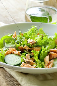 green salad with salmon and lettuce
