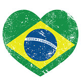Brazil retro heart shaped flag