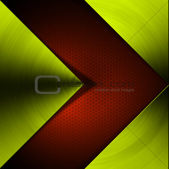 Green and Red Arrow Metal Background
