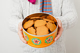 Tin of gingerbread biscuits