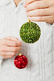 Red and green Christmas baubles