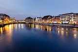 Illuminated Cityhall and Limmat River Bank in the Evening, Zuric