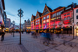 Illuminated Neuhauser Street and Karlsplatz Gate in Munich at th
