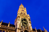 Illuminated Facade of New Town Hall on Marienplatz in Munich, Ge