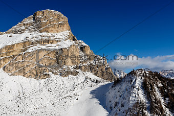 Slope on the Skiing Resort of Colfosco, Alta Badia, Dolomites Al