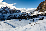 Snowy Mountains on the Skiing Resort of Colfosco, Alta Badia, Do