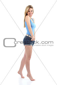 Full body portrait of a beautiful teenager girl