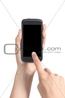 Close up of a woman hands touching a mobile phone screen with her finger