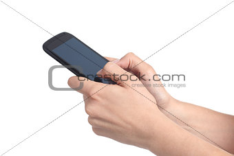Woman hands writing on a mobile phone