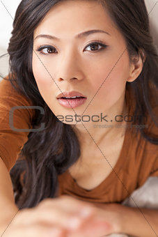 Beautiful Chinese Asian Woman Reaching to Camera