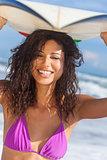 Beautiful Bikini Woman Girl Surfer & Surfboard Beach