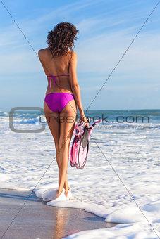 Rear View Beautiful Bikini Woman At Beach