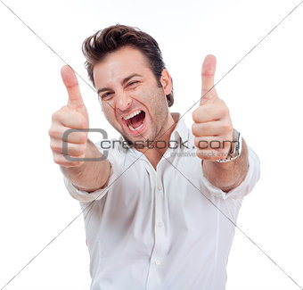man showing both thumbs up