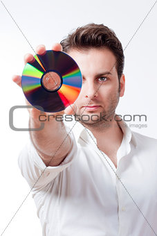 man holding a cd man holding a cd man holding a cd man holding a
