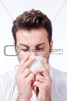 man holding cup of coffee man holding cup of coffee man drinking