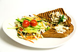 Grilled sandwich with salad and mushroom mayonnaise