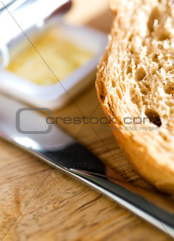 Bread and butter, closeup