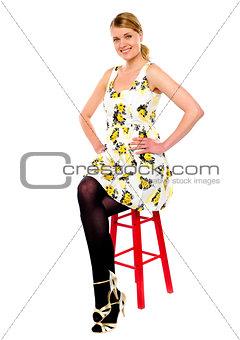 Smiling beautiful girl posing in style