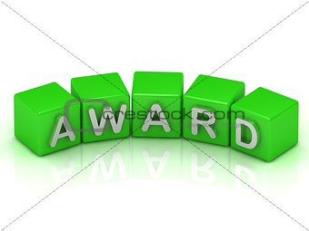 Award of text in green cubes