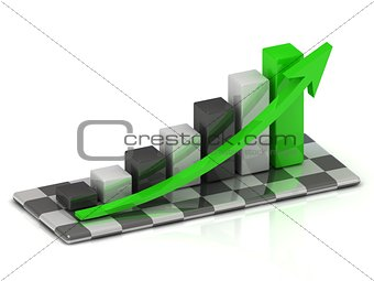 business graph with black and white columns