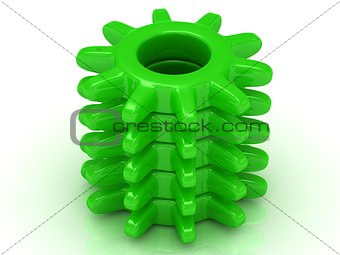 Green gear on a white background