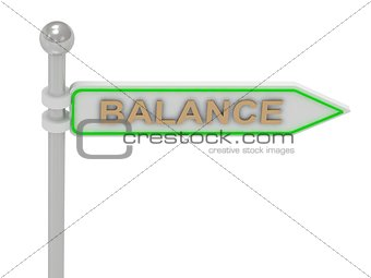 "3d rendering of sign with gold ""BALANCE"""