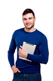 Man holding a computer tablet isolated on white background