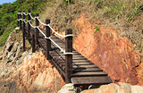 Wooden footbridge near the sea