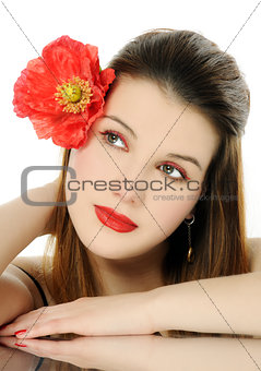 beautiful girl with poppy