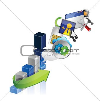 business graph and icons illustration design
